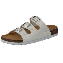 CAMPRELLA Damen Tieffußbett Pantolette Sandalen 3-Schnaller, Weiß