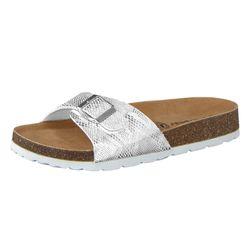CAMPRELLA Damen Tieffußbett Pantolette Sandalen 1-Schnaller, Weiß/Silber