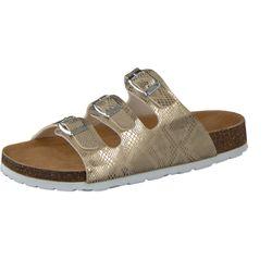 CAMPRELLA Damen Tieffußbett Pantolette Sandalen 3-Schnaller, Gold