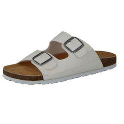 CAMPRELLA Herren Tieffußbett Pantolette Sandalen 2-Schnaller mit Ziernähten, Weiß