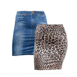 2er Set Slim Rock Jeans und Leoparden Look