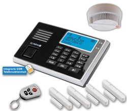 OLYMPIA Wireless GSM Alarm System 9060 Set with  4x Door/Window Detector and Smoke Detector