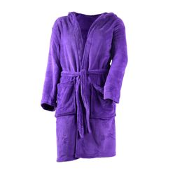 Microfiber Soft Bathrobe with hoot in purple