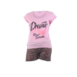 UNCLE SAM Damen Shorty Pyjama, Rosa