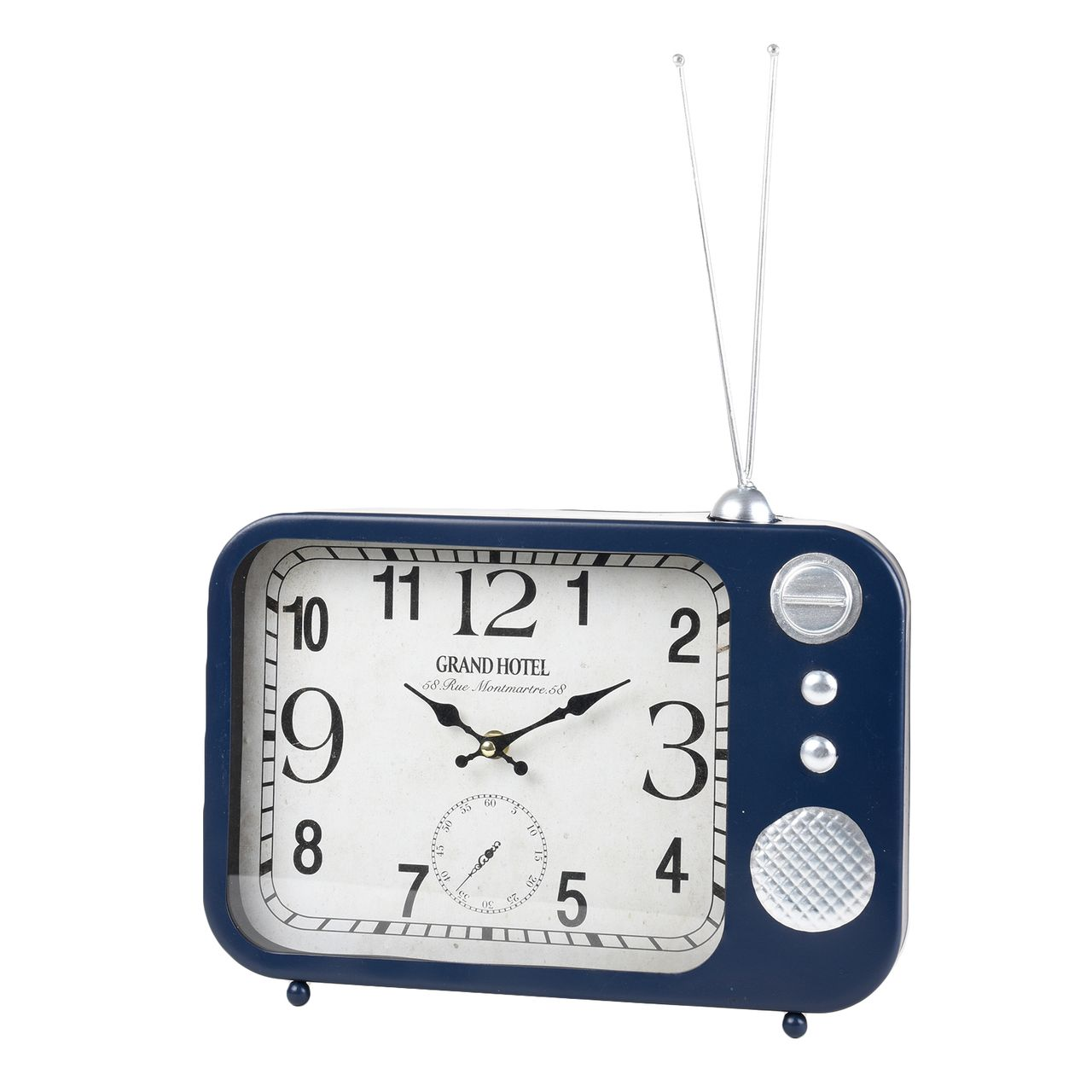 Wall Clock Table Clock Metal Vintage Radio Design Dark