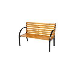 LEX Sitzbank Holz Metall Bank Gartenbank Liam 122 x 60 x 80 cm