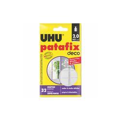 UHU patafix deco, ablösbare wiederverwendbare Klebepads, 32 Stück, Weiß