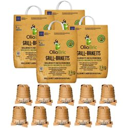 Olio Bric barbecue briquettes made from olive seeds in 3kg bag