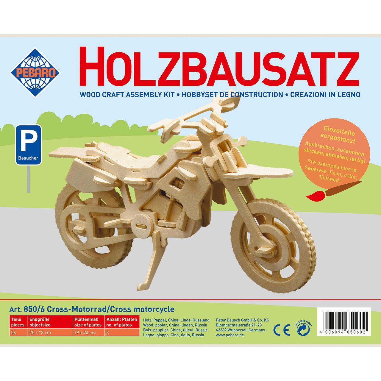 Pebaro Holzbausatz Cross Motorrad