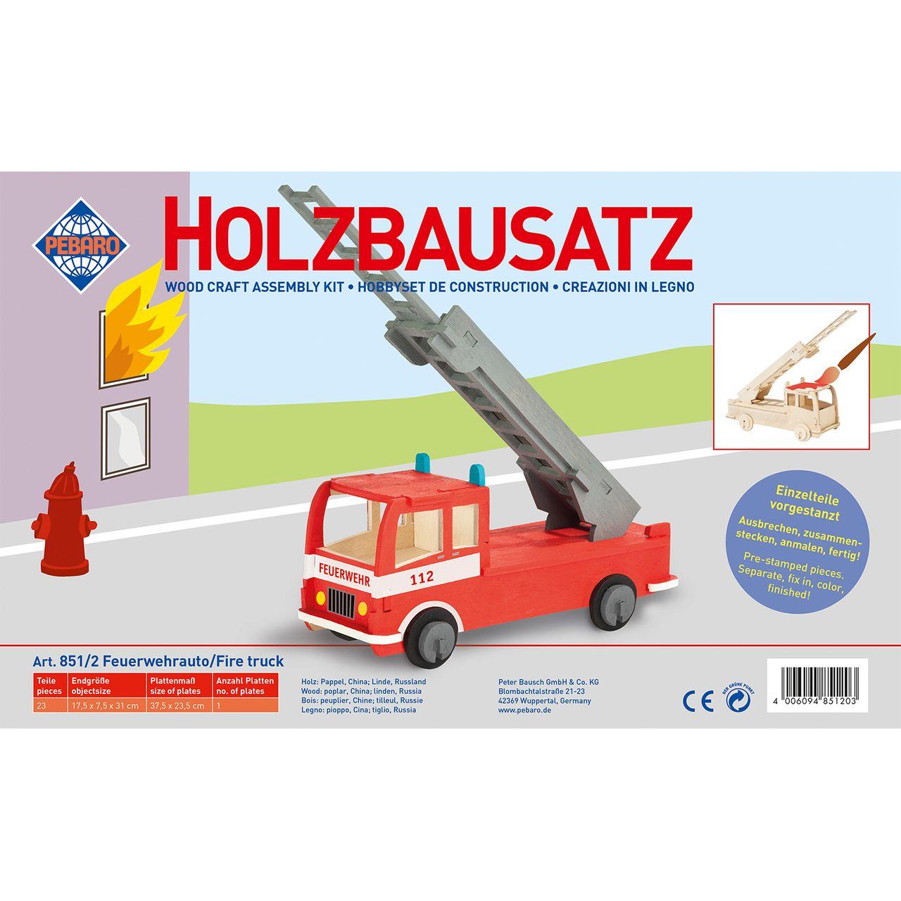 Pebaro Holzbausatz Feuerwehrauto