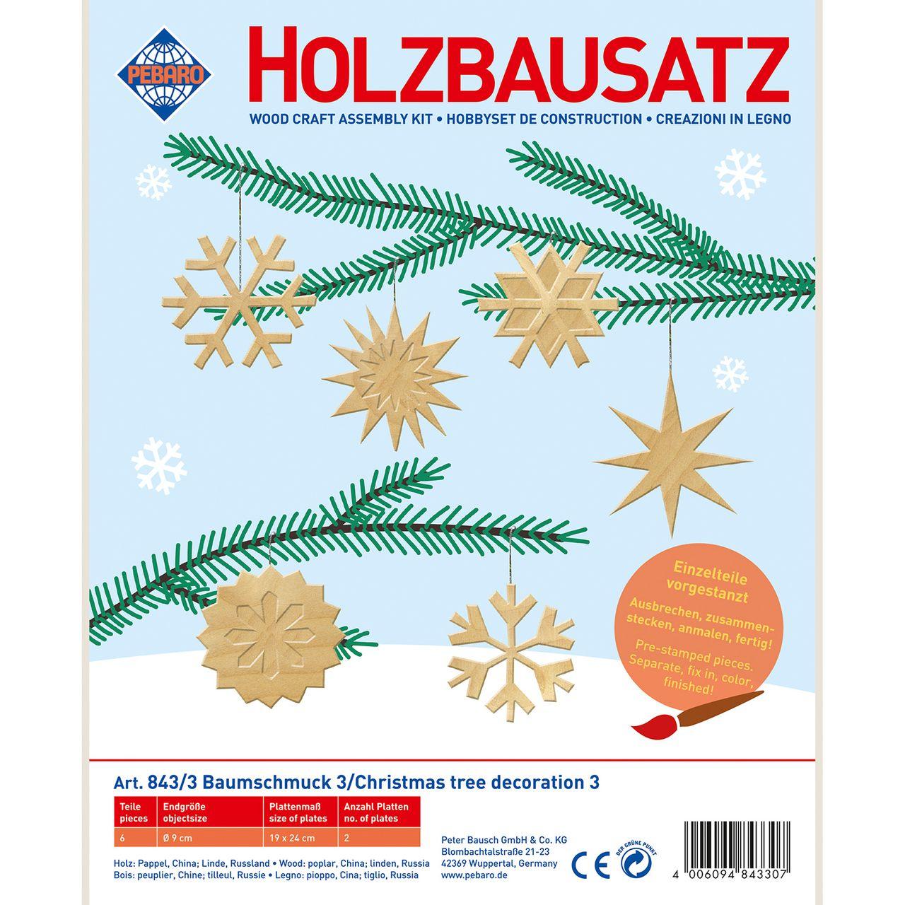 Pebaro Holzbausatz Baumschmuck 3 Schneeflocken Und Sterne