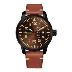 Roadsign Chronographe Adelaide Montre Bracelet pour Hommes, en Cuir Marron