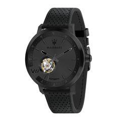 MASERATI Herren Armbanduhr GT 44 mm Edelstahl, Schwarz