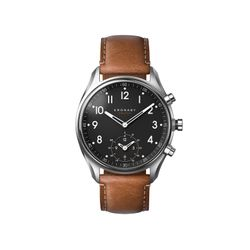 KRONABY APEX Montre intelligente hybride, 43 mm, acier inoxydable, cuir marron