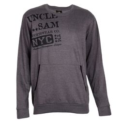UNCLE SAM Herren Sweatshirt mit Kängurutasche, neutral Grey Melange