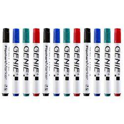 12 Stück GENIE Flipchart-Marker für Papier Stifte 4 Farben blau grün schwarz rot
