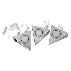 3er-Set HÖLSCHER LEUCHTEN LED Unterbauleuchte Triangle 3 x 3W, 3000K, Silber