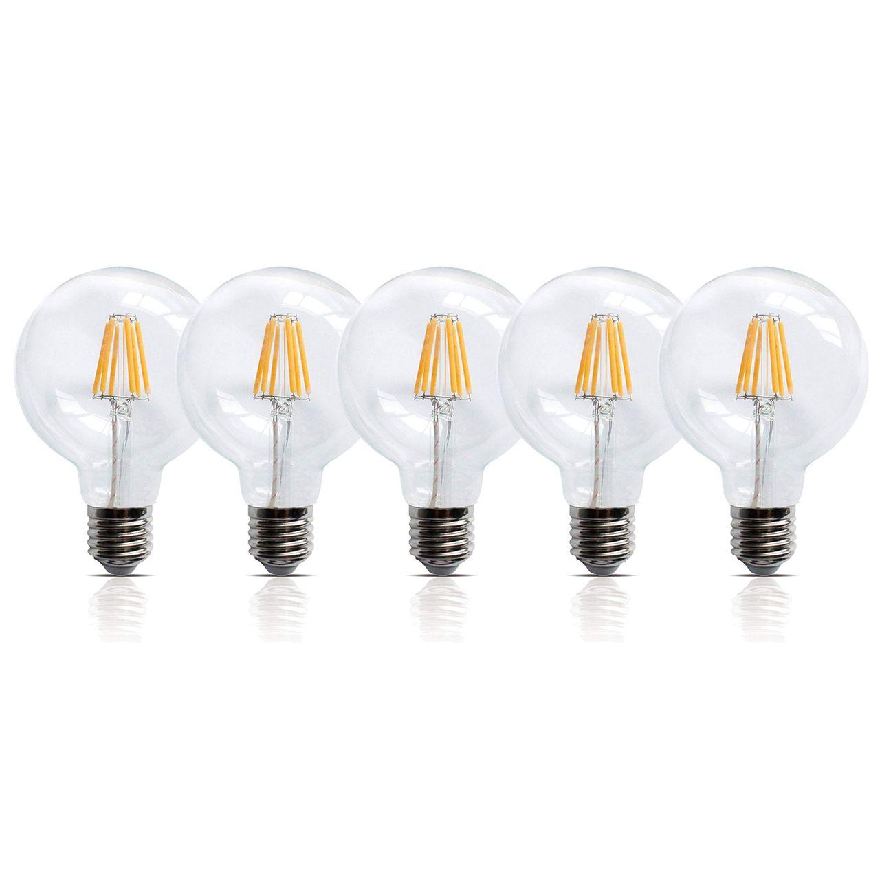 5 Stück LED Filament Leuchte E27 6W 600 Lumen A+ Lampe Glühfaden Innenbereich