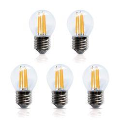 5 Stück LED Filament Leuchte Kugel E27 4W 400 Lumen A+ Lampe Glühfaden
