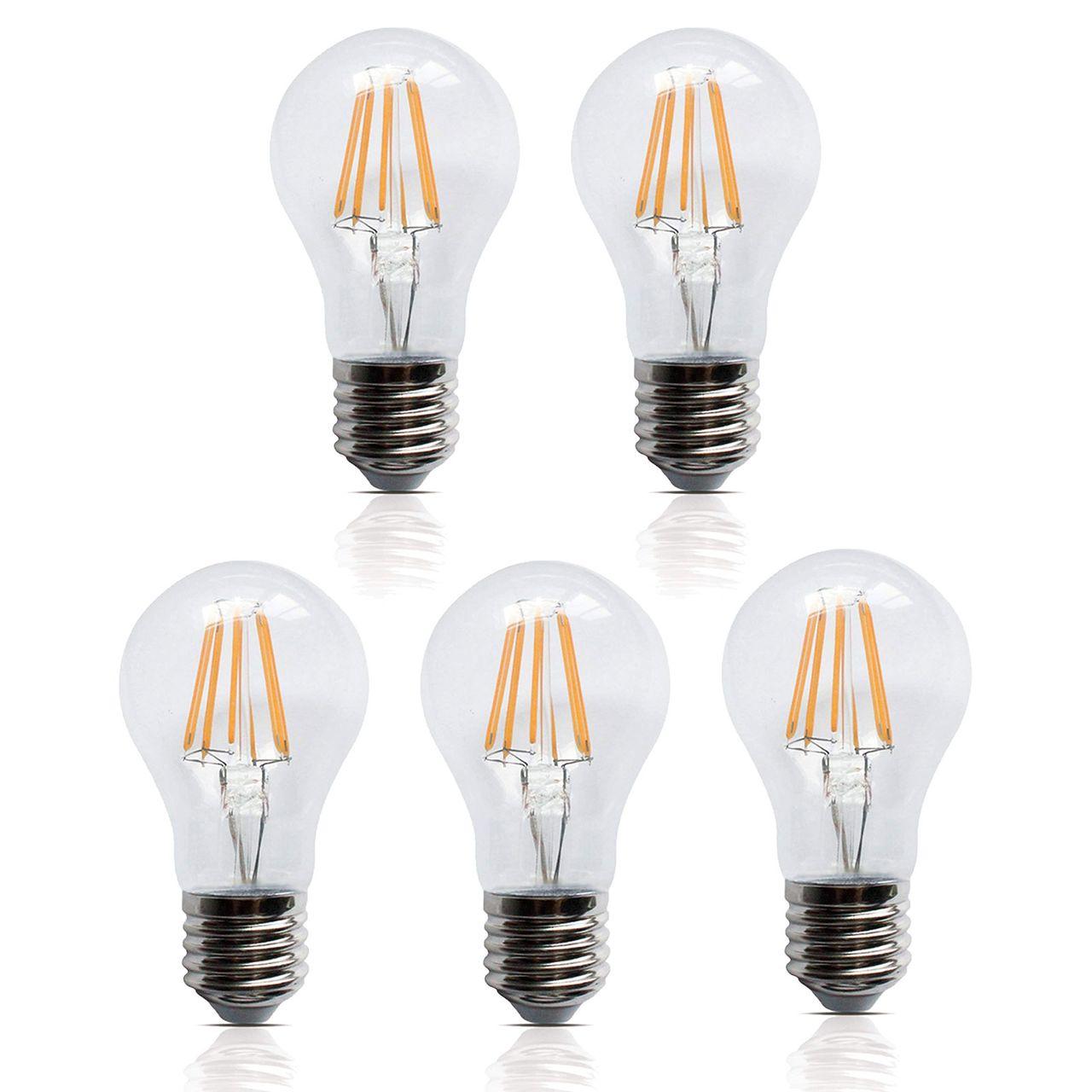 5 Stück LED Filament Leuchte Birne E27 6W 600 Lumen A+ Lampe Glühfaden