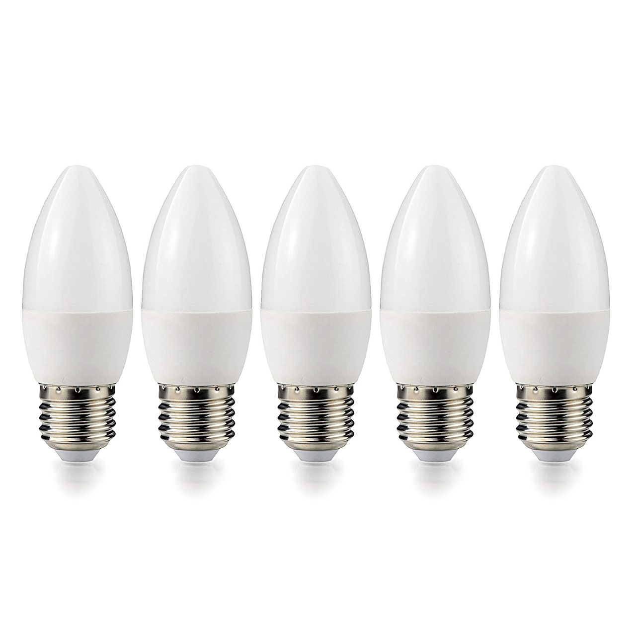 5 Stück LED Kerze Leuchtmittel E27 5W Energiesparbirne warmweiß Lampe Licht