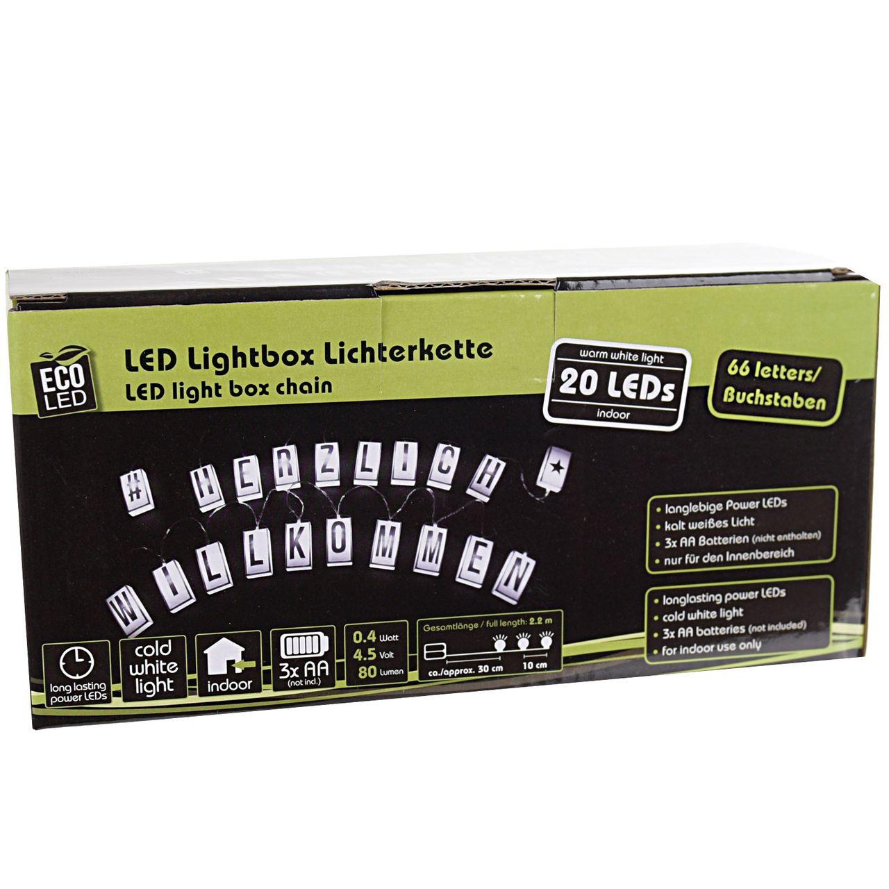 ECO LED Lichterkette LED Lightbox 20er individuell beschriftbar 60 Buchstaben