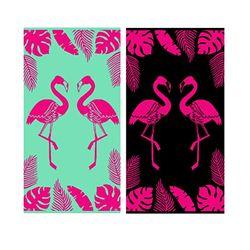 LEX Saunatuch Handtuch Duschtuch 2 Flamingos Baumwolle 90 x 170 cm