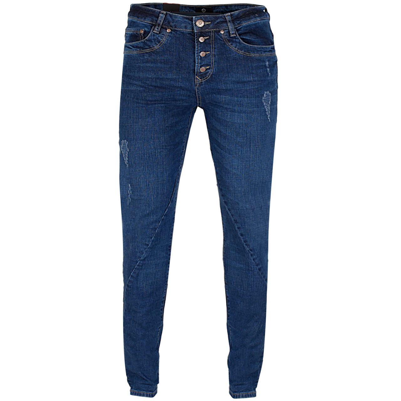 GIN TONIC Damen Boyfriend Jeans Mid Blue Wash