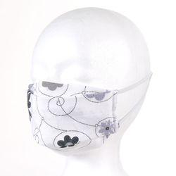 Mundmaske Nasenmaske Behelfsmaske Community Maske selbstgenäht, Blumen Weiß