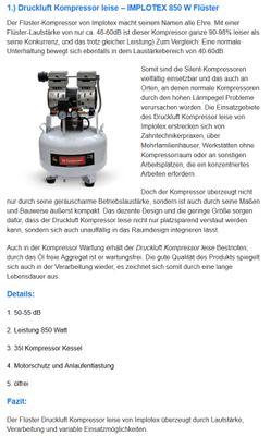 850W Silent Flüsterkompressor Druckluftkompressor nur 55dB leise ölfrei flüster Kompressor Compressor IMPLOTEX – Bild 10