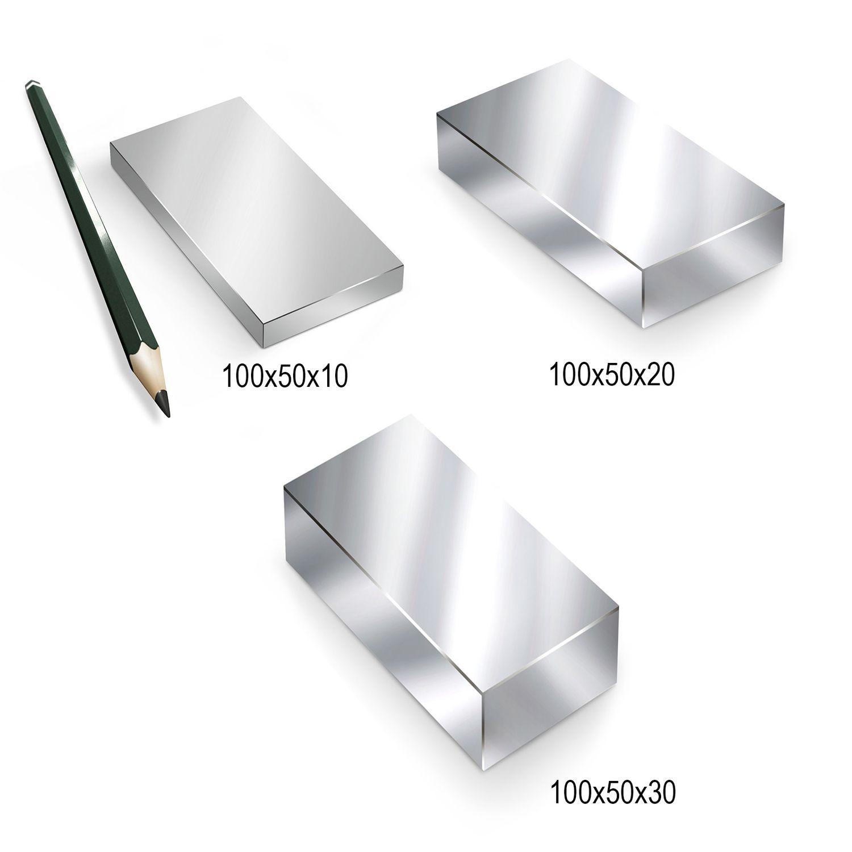 Neodym Magnete N52 60x20x10mm Groß NdFeB Super Stark Würfel Quader Suchmagnet