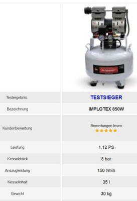850W 14L Silent Flüsterkompressor Druckluftkompressor nur 55dB leise ölfrei flüster Kompressor Compressor IMPLOTEX – Bild 4