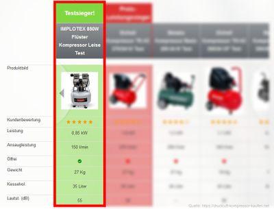 850W 14L Silent Flüsterkompressor Druckluftkompressor nur 55dB leise ölfrei flüster Kompressor Compressor IMPLOTEX – Bild 5