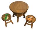Handgefertigter, stabiler Kindertisch, rund, Holz – Bild 3