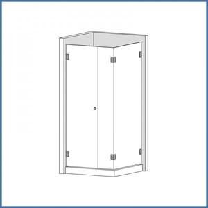 """Eckdusche """"Supreme"""" 800/800mm (Tür, Seite, Seitenteil), Finesse Line, VA-Finish – Bild 1"""