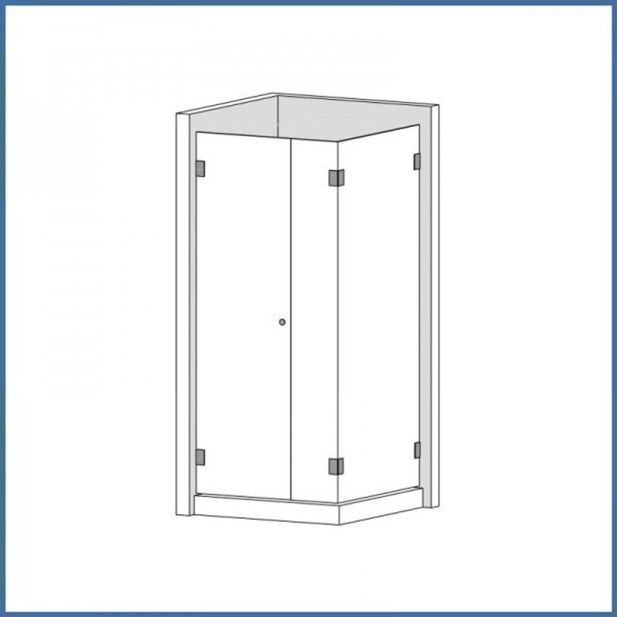 """Eckdusche """"Supreme"""" 1000/1200mm (Tür, Seite, Seitenteil), Finesse Line, VA-Finish"""