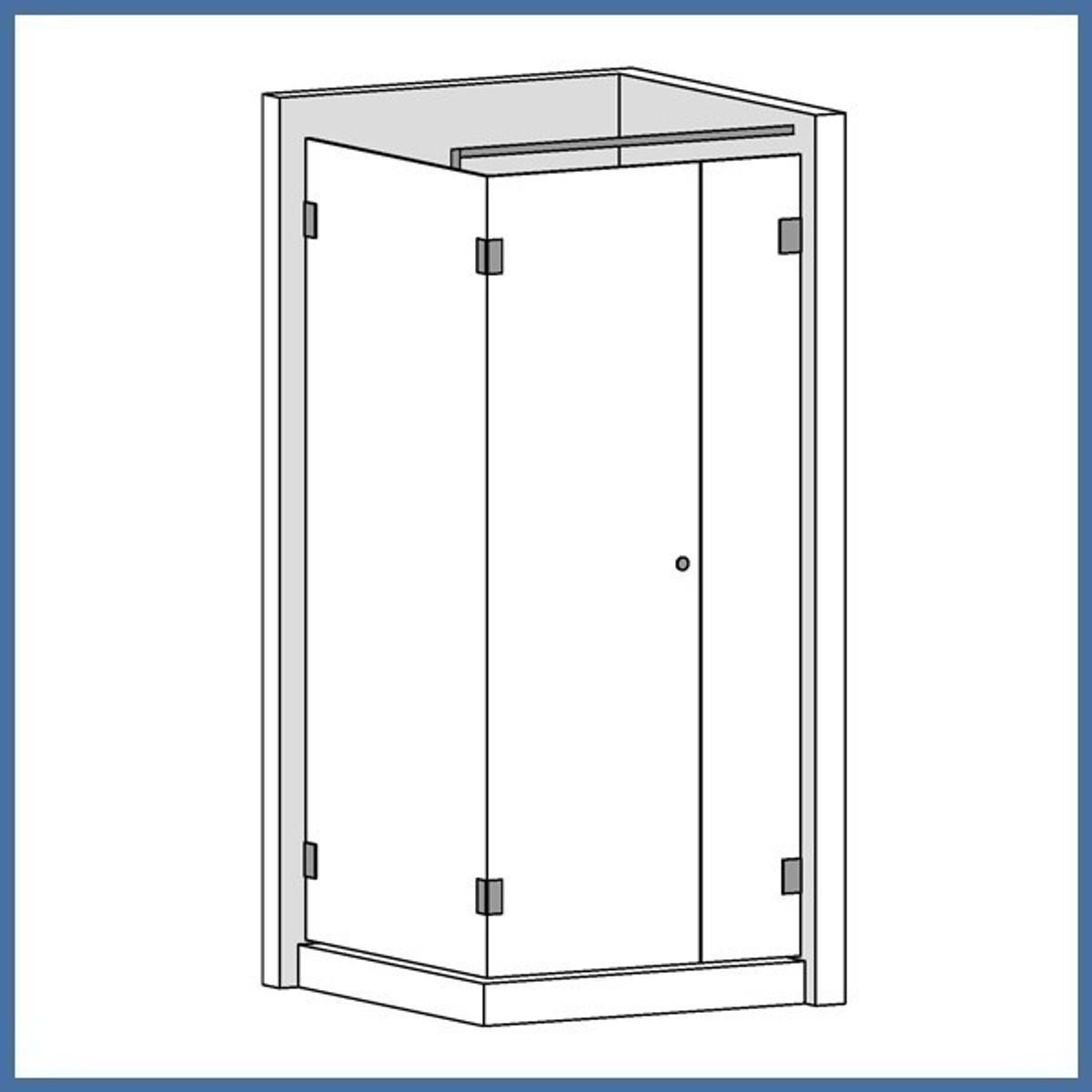 """Eckdusche """"Premium"""" 900/1200mm (Seitenteil, Tür, Seite), Finesse Line, VA-Finish"""