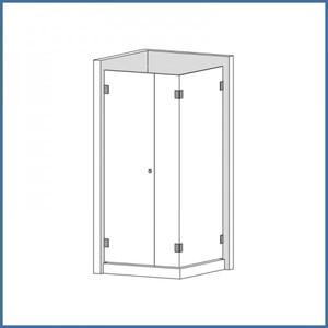 """Eckdusche """"Premium"""" 980/1180mm (Seitenteil, Tür, Seite), Finesse Line, VA-Finish – Bild 2"""