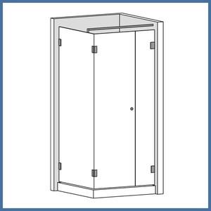 """Eckdusche """"Premium"""" 900/900mm (Seitenteil, Tür, Seite), Talais Line, Glanzchrom – Bild 1"""