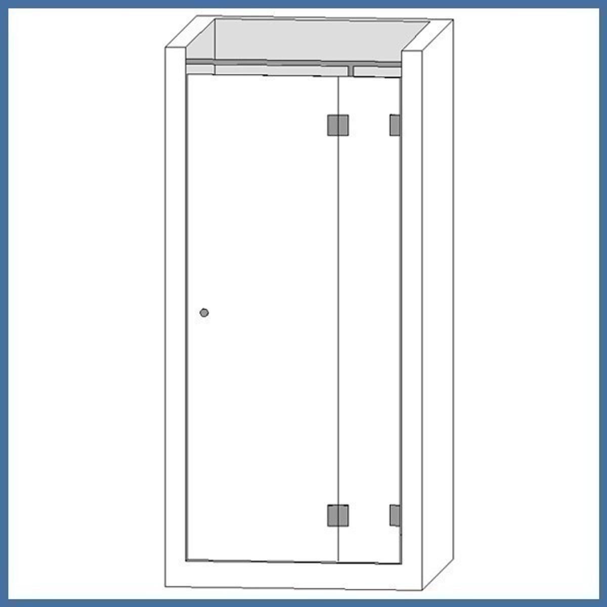 """Nischen-Dusche """"De Luxe"""", 2000 x 715-720mm (550/150) bis 1305-1310mm (1000/290), Slim Line, Chrom"""