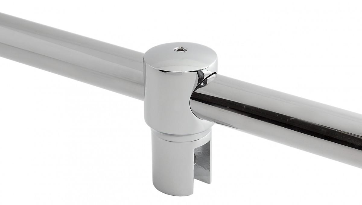 Fixum Durchsteck-Glashalter für Haltestange für Duschen, Chrom