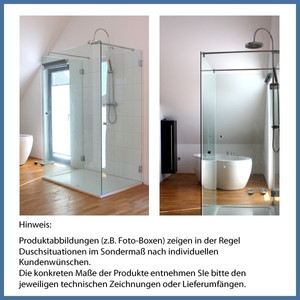 "Walk-In Dusche ""Free"" 1400mm, Haltestange, VA-Finish – Bild 3"