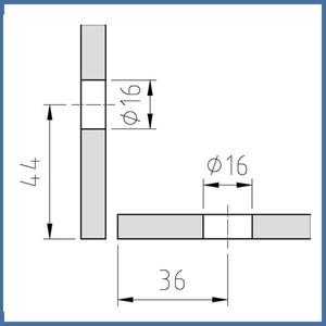 Winkelverbinder Fixum XL, Glas-Glas, 90°, Chrom