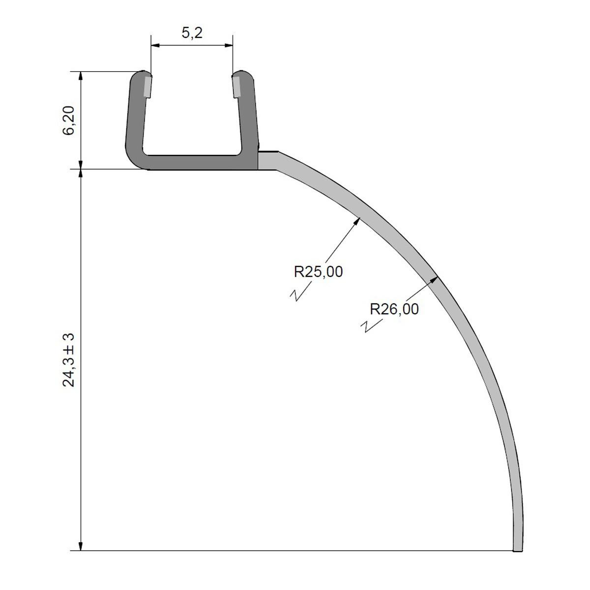 Wasserabweisprofil Ersatzdichtung Duschdichtung kurzer Glaseinstand extra lange Lippe für 6mm Glas Duschen, 1000mm