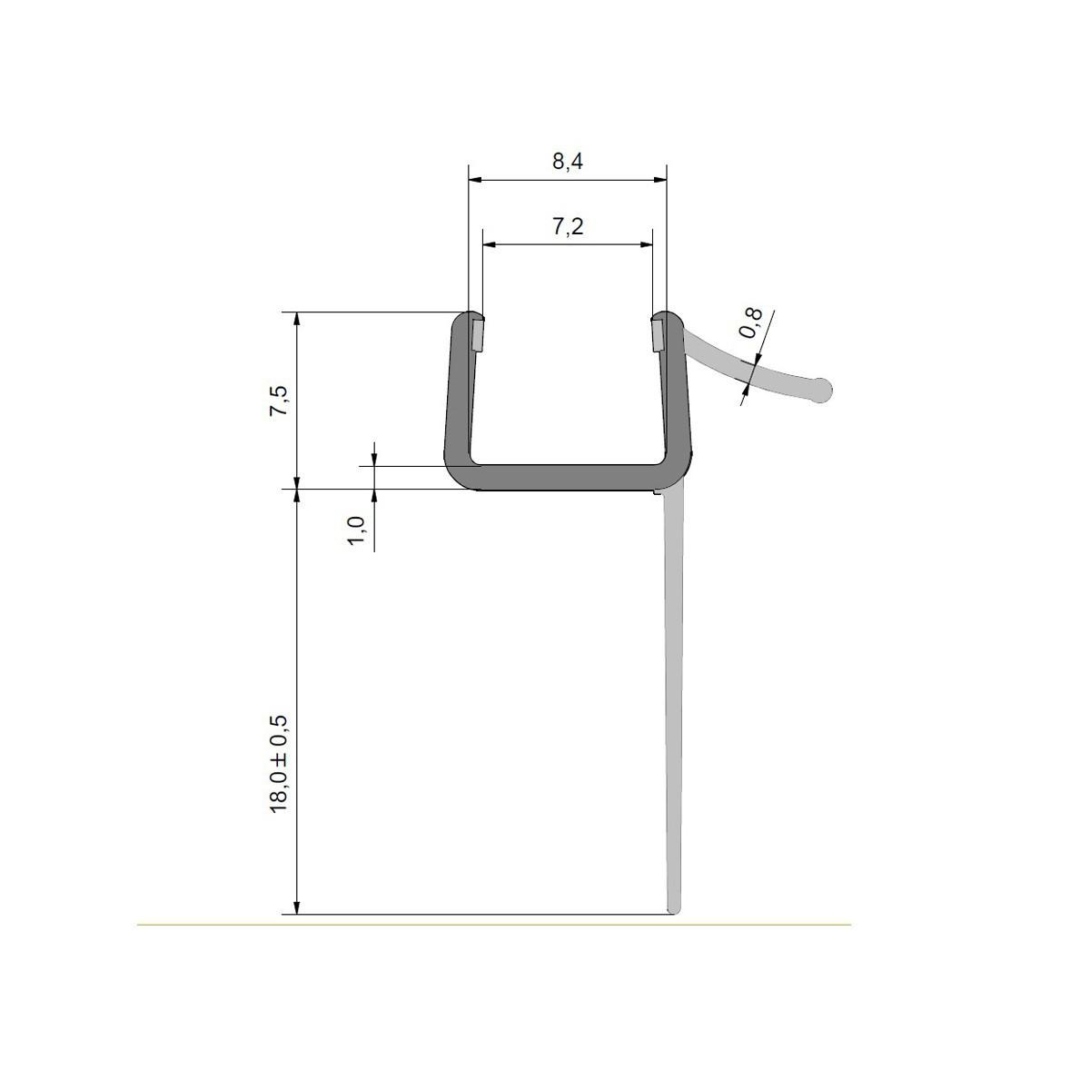 Wasserabweisprofil für 8mm Glas Duschen, lange Fahne, Ersatzdichtung, Duschdichtung, 1000mm