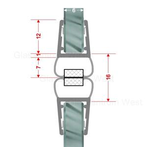 Magnetdichtprofil 180° (Paar), Für Pendeltüren und Rundduschen, 6-8mm Glasstärke, Länge 2,01m