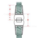 Magnetdichtprofil 180° (Paar), Für Pendeltüren und Rundduschen, 6-8mm Glasstärke, Länge 2,01m 001