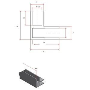 Eckprofil Aluminium, 2010 x 22 x 12 x 20 x 1,5mm, Chromoptik – Bild 3
