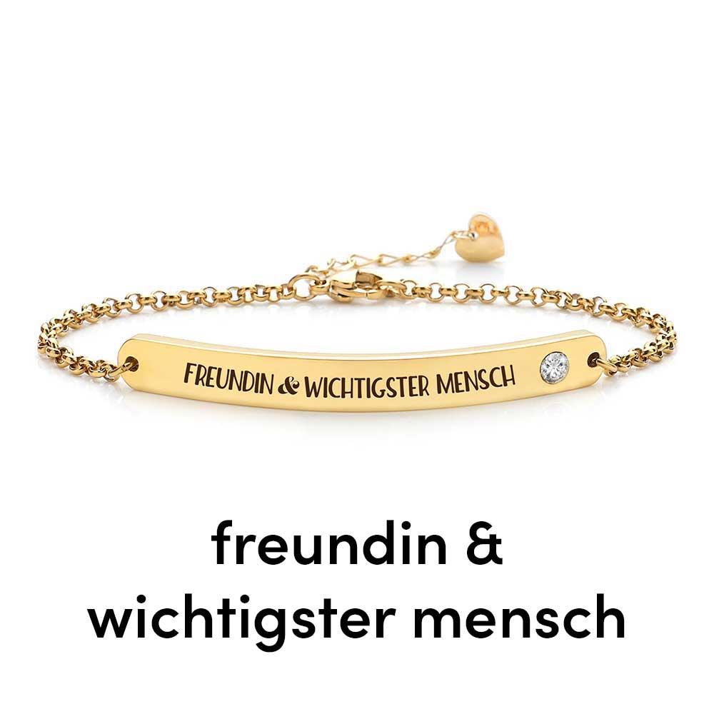 Armband mit graviertem Lieblingsspruch & Kristall