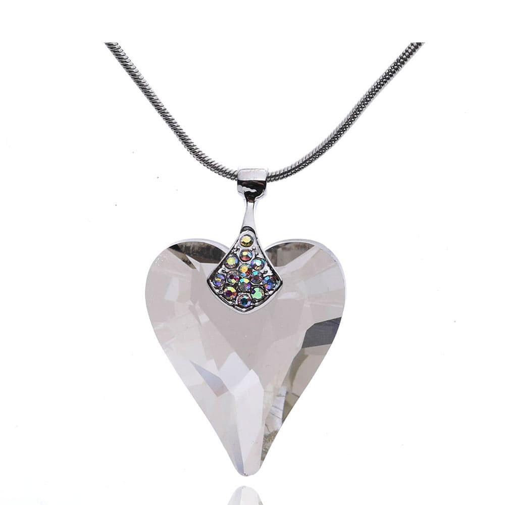 Modeschmuck Herz Anhänger Halskette veredelt mit Kristallen